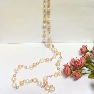 Jewelry - Genuine Pearl Ivory Peach Long Strained Necklace♥